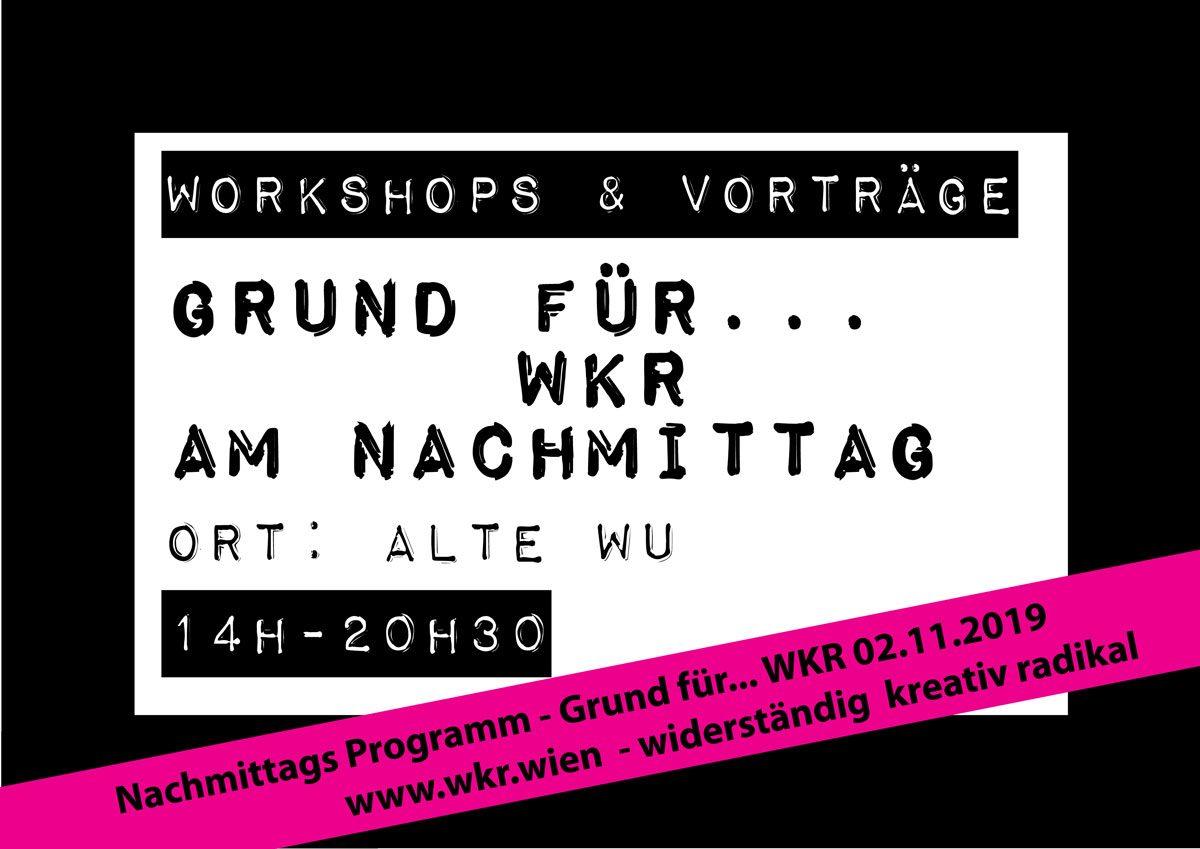 Workshop und Vorträge – Workshops and talks WKR2019 – afternoonprogram – Nachmittagsprogramm